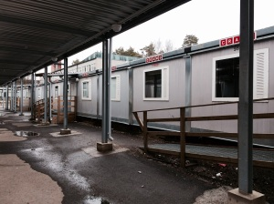 Espoon Tapiolan koulun väistötilat Otaniemessä.
